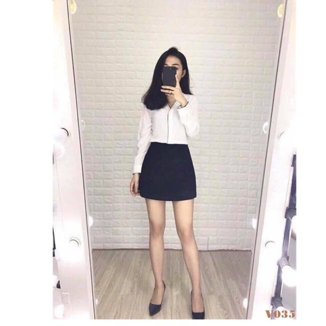 V035- Chân váy quần trơn đen