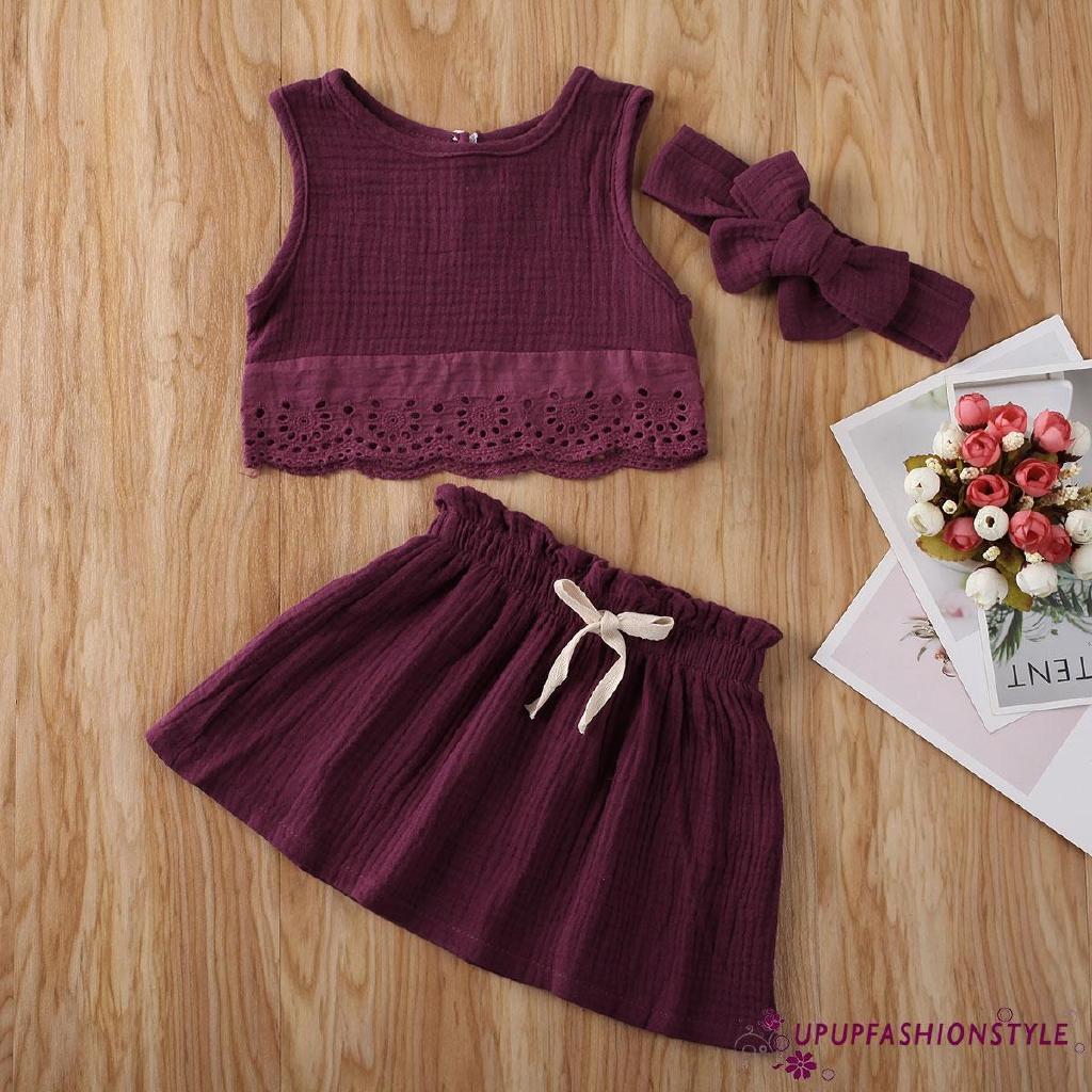 Set Áo Croptop+Chân Váy Hoa+Băng Đô Cho Bé Gái