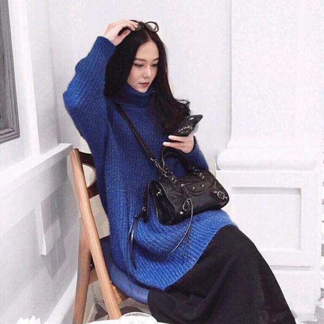 Áo Váy Len Xanh