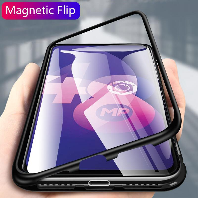 Magnetic Case OPPO F11 Pro A5 A9 2020 Realme 5 3 Pro X Lite C2 A1K Reno Clear Tempered Glass Hard Back Cover