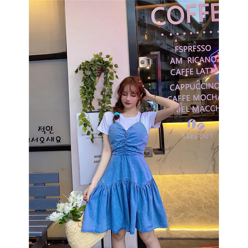 Bộ Áo Thun Cổ Chữ V + Chân Váy Yếm Denim Xinh Xắn Dành Cho Nữ