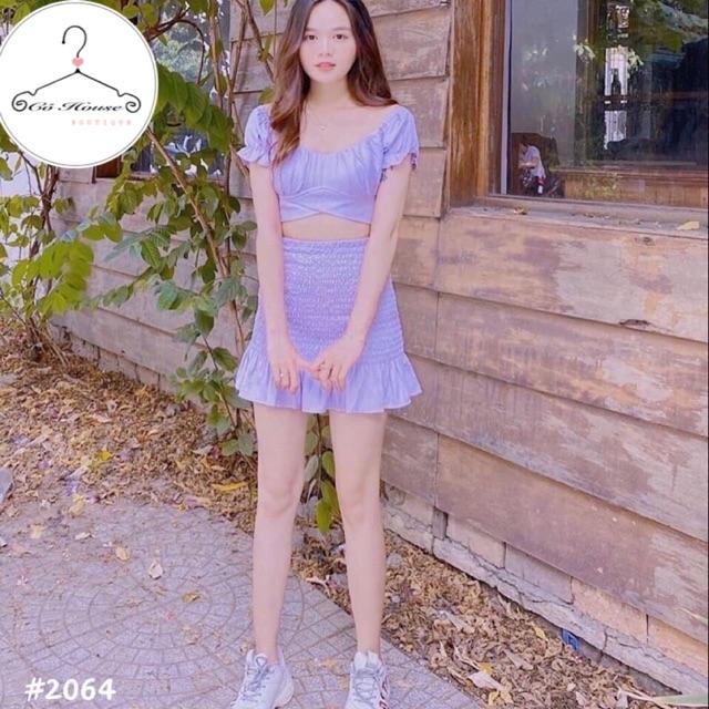 Set áo nơ tím + chân váy nhún