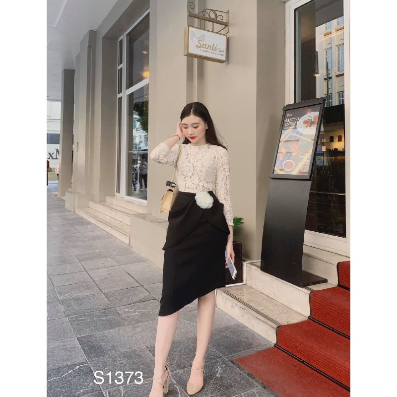 Set trang phục áo ren Hàn phối chân váy đen umi S1373 Medushop kèm ảnh thật