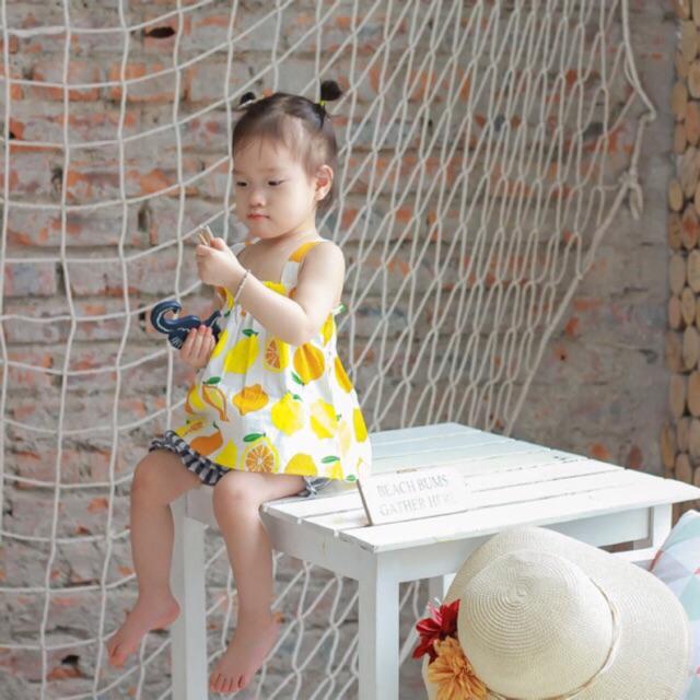 Combo 3 bộ quần đùi áo 2 dây cho bé gái 1-6 tuổi