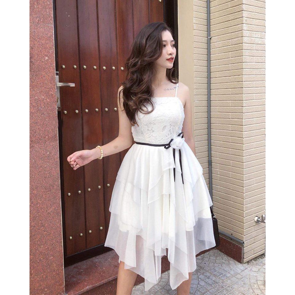 Đầm dự tiệc, đầm ren trắng dáng xòe hai dây cao cấp đẹp lộng lẫy