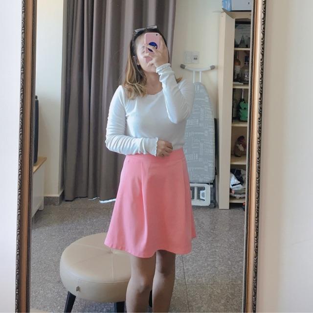 Chân váy hồng cam đào