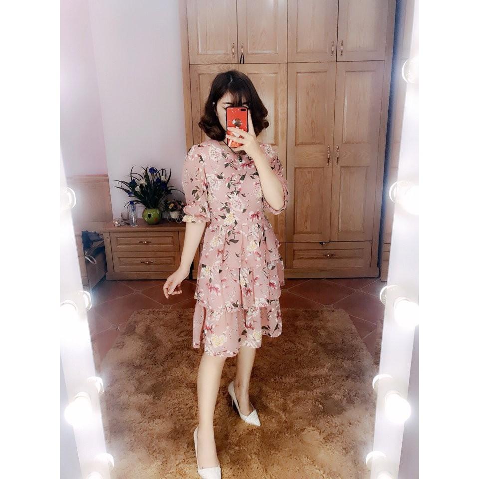 Váy voan hoa cực xinh 4màu - Ảnh thật tự chụp