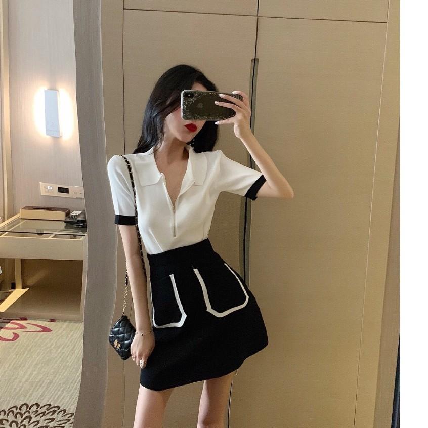 Bộ Áo Sweater Cổ Bẻ + Chân Váy Dệt Kim Lưng Cao Xinh Xắn Cho Nữ