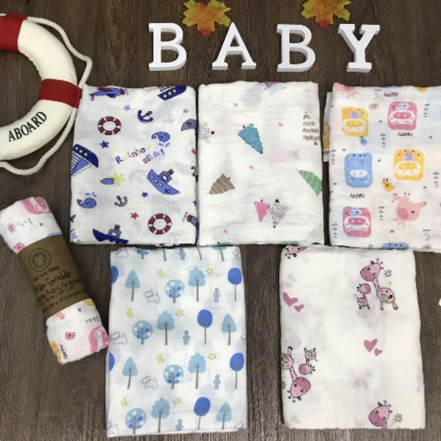 Khăn Aden And Anails Muslin Swaddle 100% Organic Cao Cấp