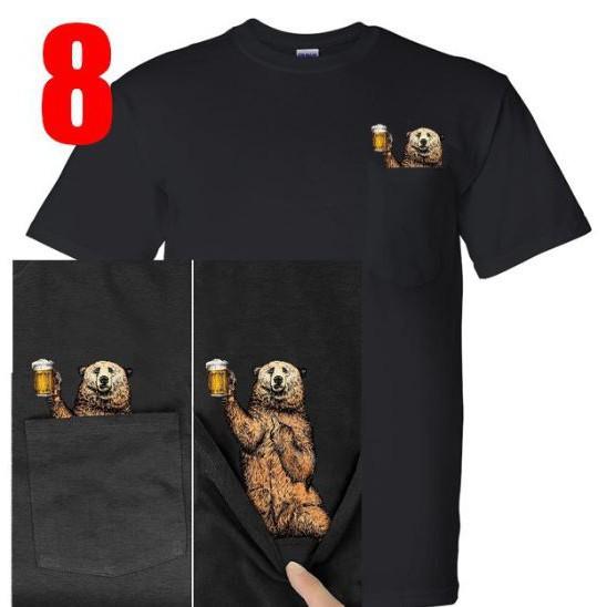 áo thun nam nữ có túi ngực gấu cầm cốc hước chất chuẩn 100% cotton, freeship đủ size loại 1 giá rẻ 03T95
