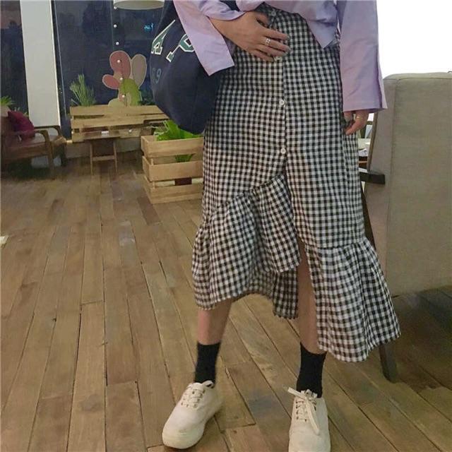 Chân váy caro lá sen best seller cực hot có sẵn