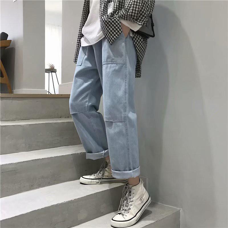 Quần Jeans Rách Phong Cách Retro Hàn Quốc Có Size Lớn S-3xl