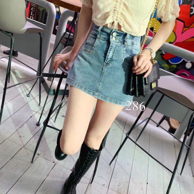 Chân váy Jean ngắn hai cúc