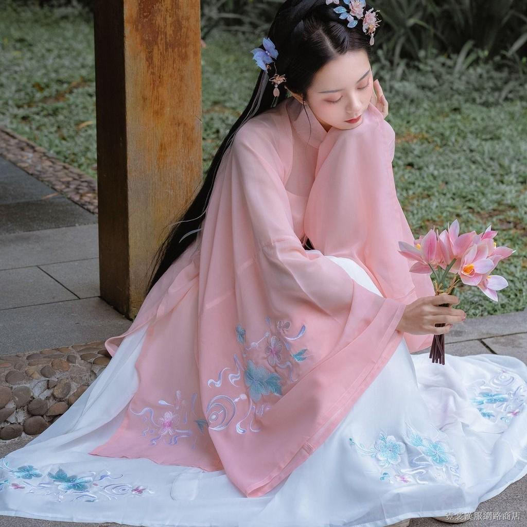 Bộ Hán Phục Cổ Đứng Thêu Hoa Phối Chân Váy Xếp Ly Kiểu Dáng Nữ Tính