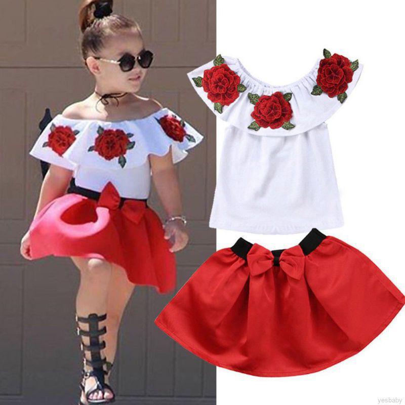 Set áo hoa trễ vai + chân váy ngắn dễ thương cho bé gái
