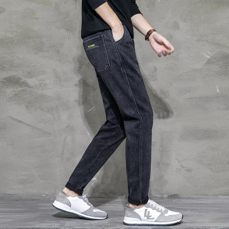 Quần jeans dáng suông rộng ống ôm chất co giãn phong cách retro cho nam giới