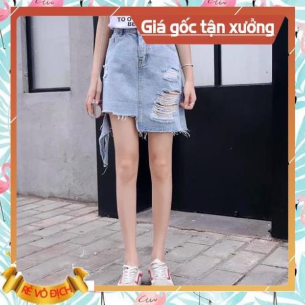 Hàng siêu cấp[Hàng Quảng Châu] Chân váy jean rách cao cấp hàng đẹp (hàng đẹp)