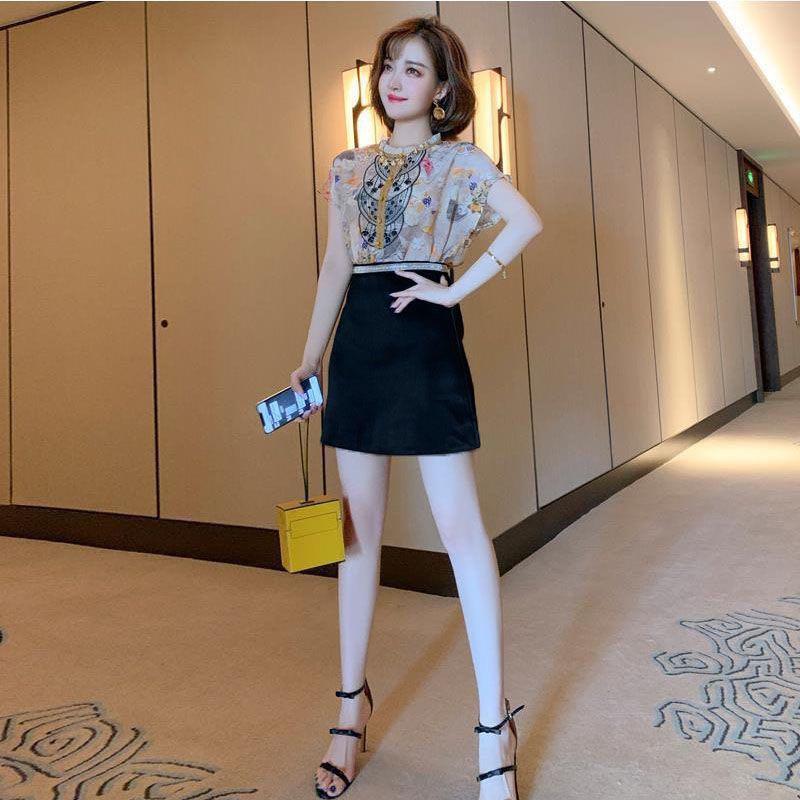 Áo Kiểu Nữ Vải Ren + Chân Váy Chữ A Lưng Cao Đáng Yêu