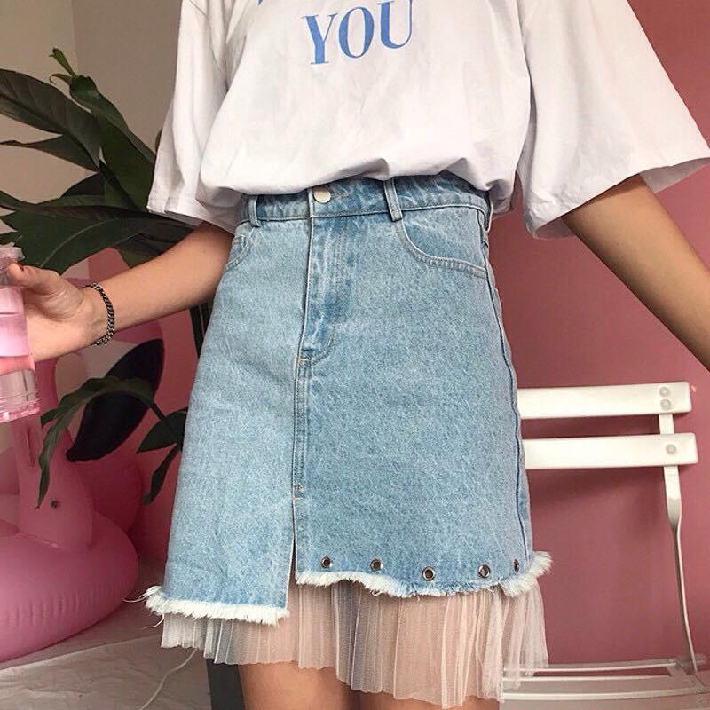 Chân váy jean tua ren Ulzzang (có ảnh thật ở cuối)