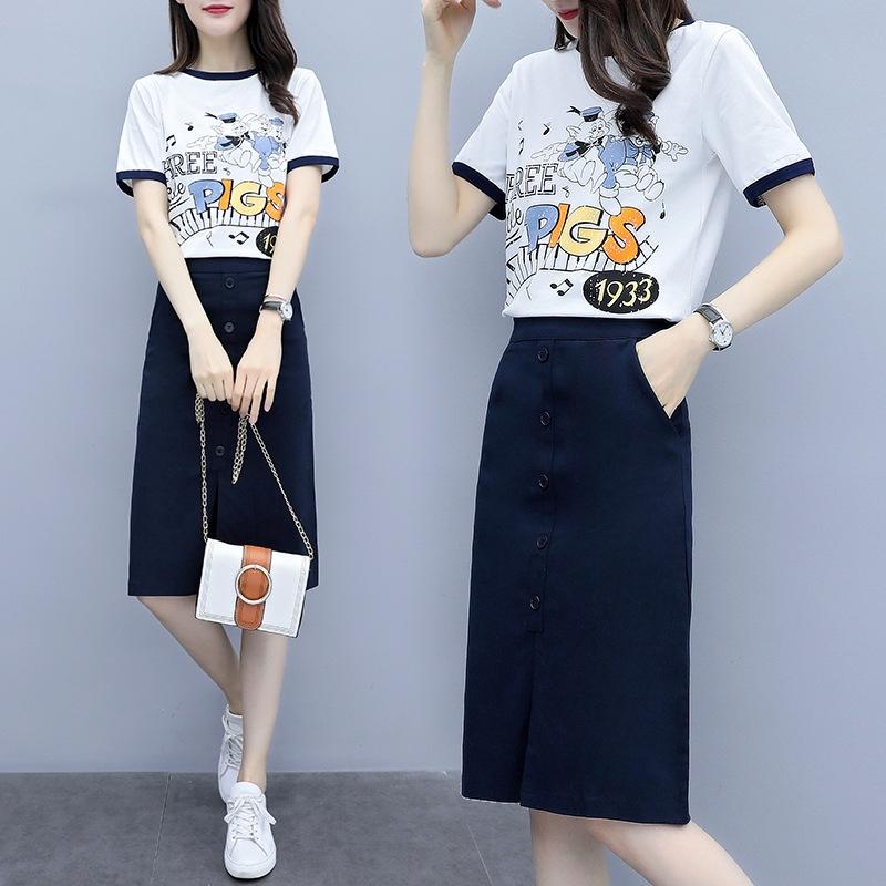 Bộ Áo Thun + Chân Váy Xẻ Tà Thời Trang Mùa Hè 2020 Cho Nữ
