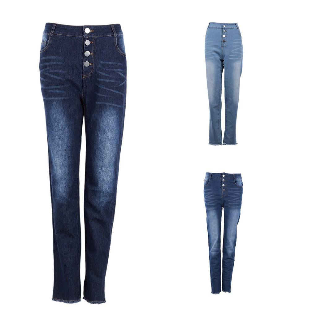Quần jeans dài lưng cao phối nút thời trang cho nữ