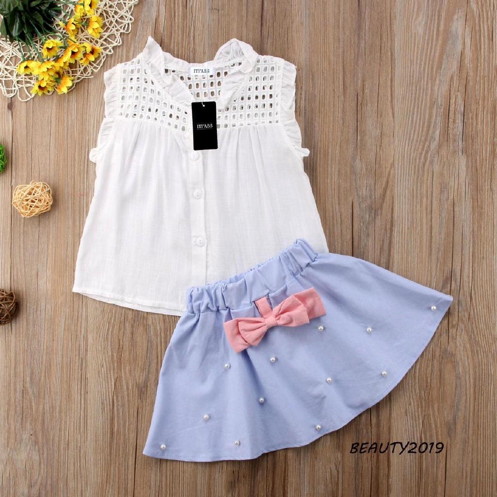 Set áo thun phối chân váy xòe đính nơ dễ thương cho bé gái