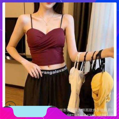 [ Rẻ Vô Địch ] áo hai dây xoắn ngực có đệm ngực thời trang elly