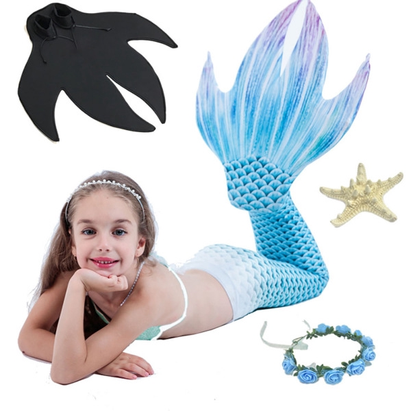 3PCS Girl Mermaid Tail Swimsuit Set Mermaid Skirt Chest Wrap Web-footed Bikini Bar Holiday Beach