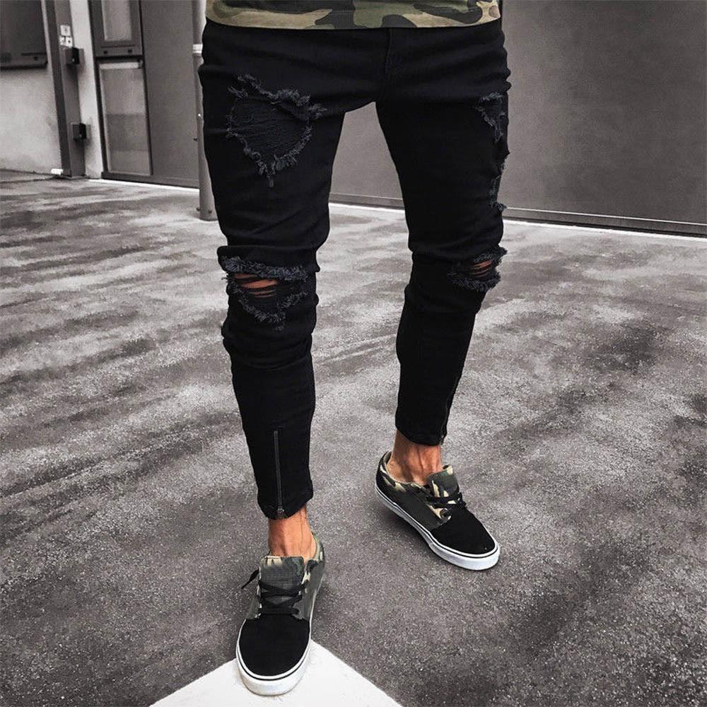 Quần jeans dài dáng ôm thiết kế rách xước có khóa kéo thời trang cho nam