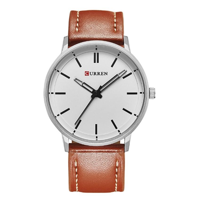 Đồng hồ nam Curren 8233 (Nâu) dây da mặt trắng