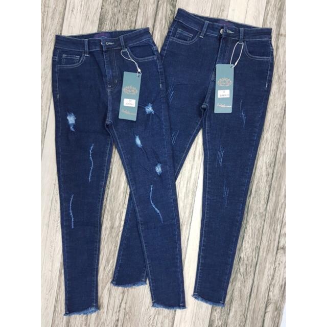 Quần Jeans muối tiêu xanh cạp cao mã mài, rách