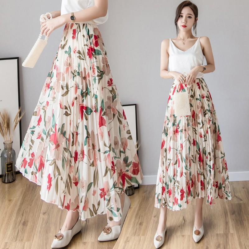 Chân váy dài chất Chiffon lưng cao hoạ tiết hoa thời trang mùa hè cho phái nữ