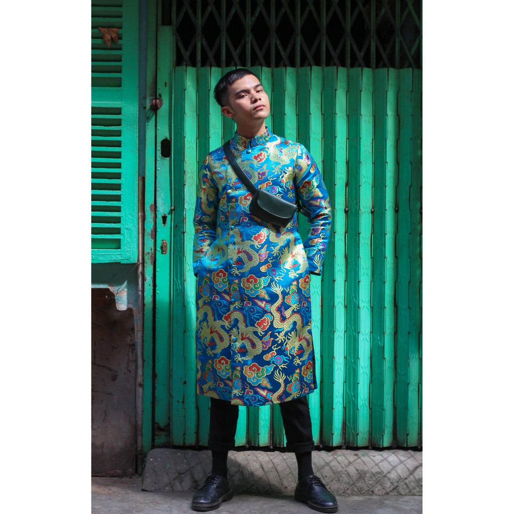 Áo dài cách tân nam - Kim Long Mây Ngũ Sắc gấm xanh ngọc