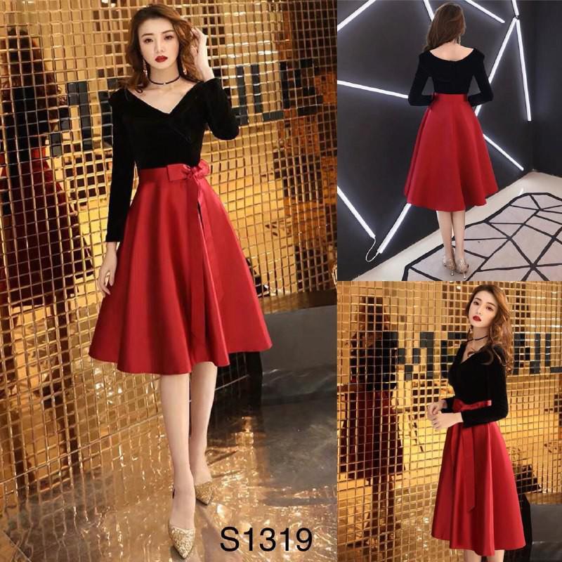 [Hot Trend] Set áo đen trễ vai + chân váy đỏ thắt nơ S1319 Mie Design kèm ảnh thật