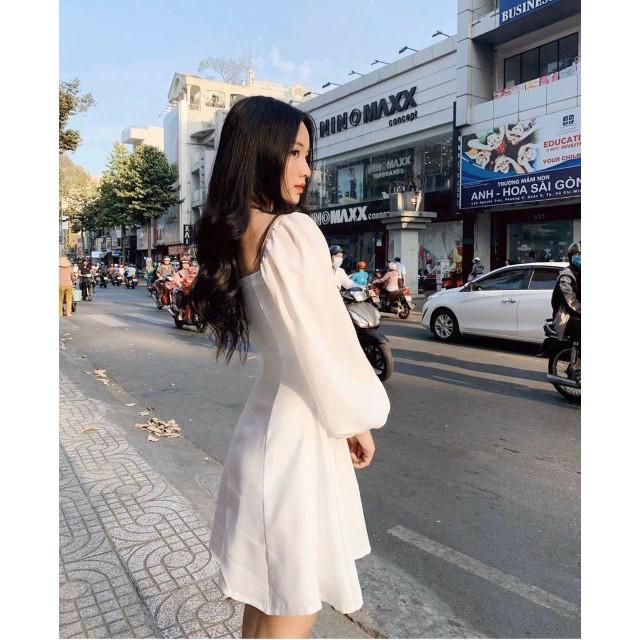 7018282956 - [Mẫu mới về ] Đầm midi trắng cổ U - đầm trắng xòe tay phồng - đầm dự tiệc