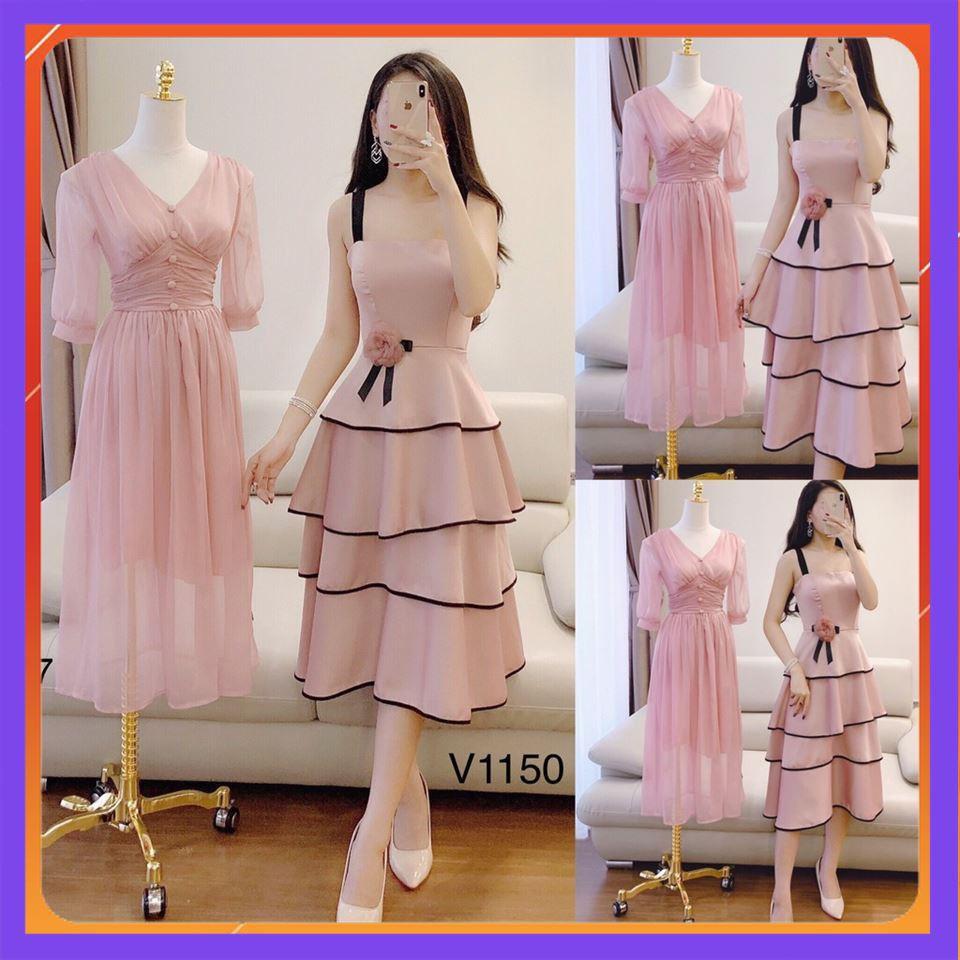 [HOT - GIẢM GIÁ] MiD Váy đầm hồng 2 dây xếp ly tầng quyến rũ V1150 Hàng Đẹp