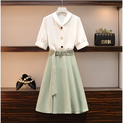 Set Áo Sơ Mi Tay Ngắn Cổ Chữ V + Chân Váy Ngắn Thời Trang Cho Nữ