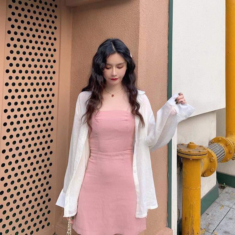 Set đầm 2 dây hồng kèm áo