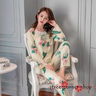 ScSweet Ladies´ Home Clothes Ladies Two-Piece Pajama Suit Print Pajamas and Pyjama Trousers Suit
