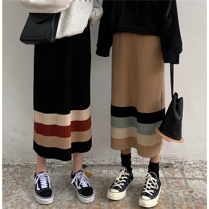 Chân Váy Dệt Kim Eo Cao Hoa Văn Kẻ Sọc Phong Cách Hàn Quốc Thời Trang