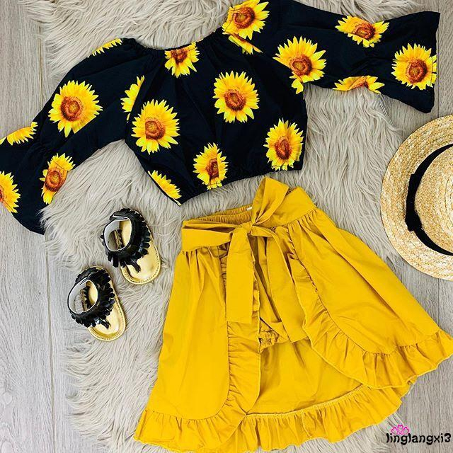 Set áo thun ngắn tay + chân váy đáng yêu cho bé gái