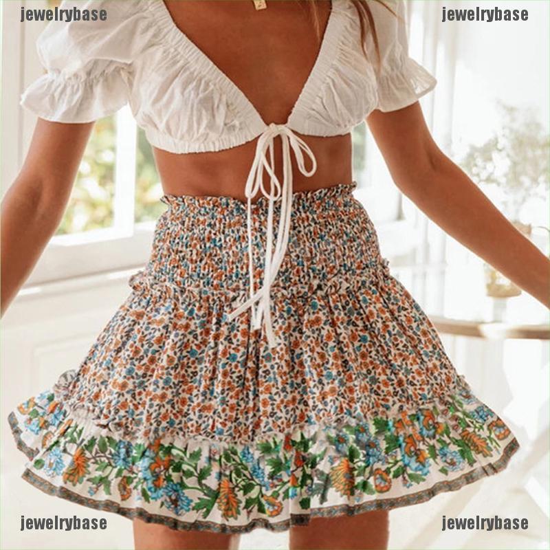 Chân Váy Nữ Lưng Cao Họa Tiết Hoa Thời Trang Quyến Rũ