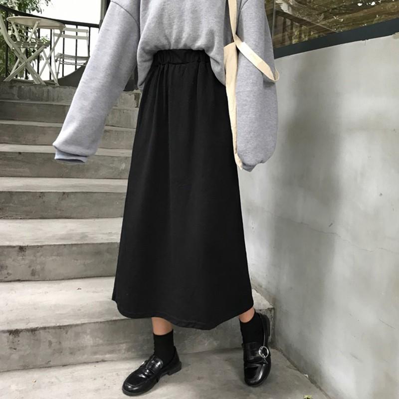 Chân Váy Midi Dày Dáng Rộng Kiểu Hàn Quốc Thời Trang Mùa Thu 2019