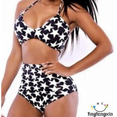 Bộ bikini 2 mảnh cạp cao họa tiết ngôi sao thời trang cho nữ