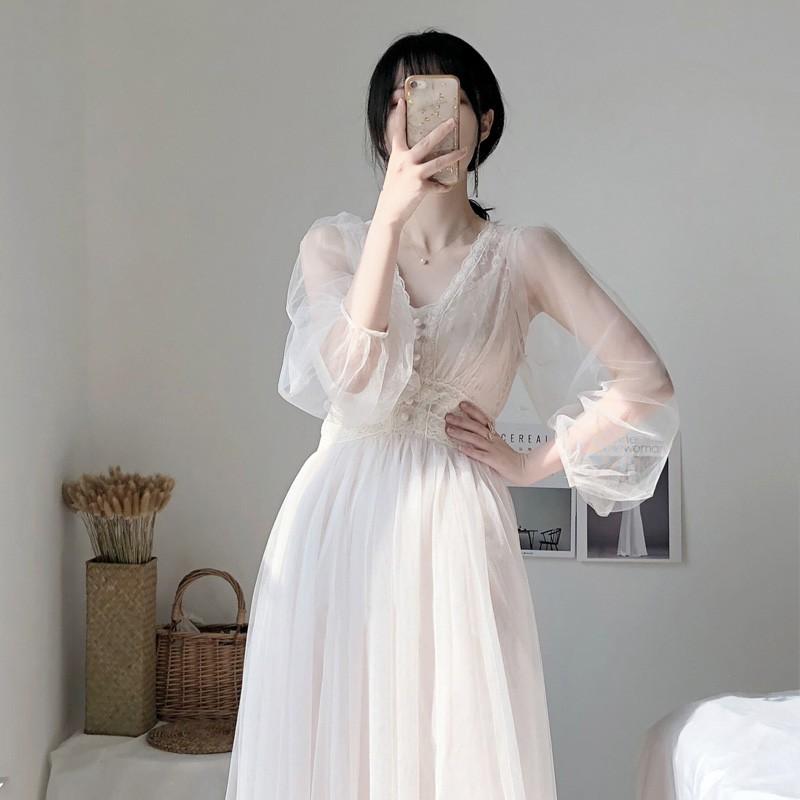 Chân Váy Dài Phối Lưới Phong Cách Nhẹ Nhàng Nữ Tính