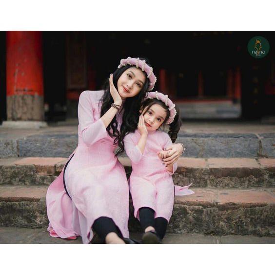 [SALE MẠNH] Set áo dài cách tân mẹ và bé màu hồng kèm 2 mấn cực yêu (kèm ảnh thật) - GÓC ÁO DÀI