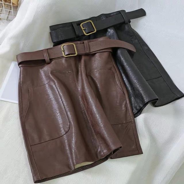 (Đặt 7-10 ngày không sẵn) s64 chân váy da kèm belt
