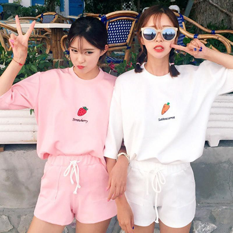 Bộ áo thun cổ tròn + quần short mùa hè cho nữ
