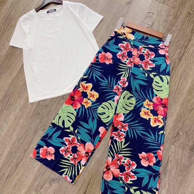 Set áo thun+ quần ống rộng