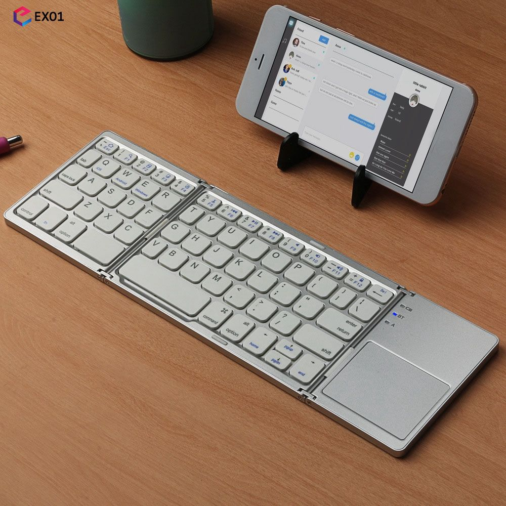 Foldable Bluetooth Keyboard with Touchpad USB Charging Wireless Tablet [EXO1]